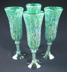 Champagne Flute, Hand Blown Pistacio and White set of four