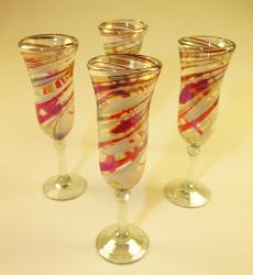 Champagne Flutes Hand Blown Red White Swirl 4