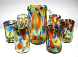 Set of Six(6) Multi Colored Confetti Drinking Glasses(16 oz.)& Matching Pitcher