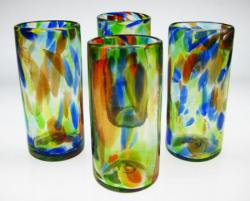 Drinking Glasses, Confetti Swirl, 20oz, Set of Four (4).