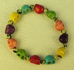 Day of the Dead Bracelet colorful skulls extra small