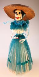 Day of the Dead Catrina in sheer turquoise blue