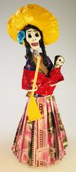 Day of the Dead Catrina Revolution in red rebozo y baby