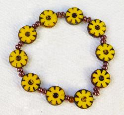 Day of the Dead Jewelry Marigolds and glass beads bracelet