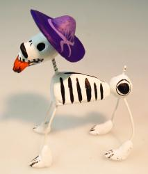 Day of the Dead Calavera Dog in purple hat