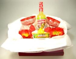 Margartia Glasses, Red Spiral with Salt Rimmer and 'Ass Kicking Margarita Mix' Gift Basket for Two