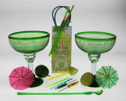 Margarita Party Gift, green spiral rim Glasses from Mexico
