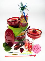 Margarita Gift Basket, Red Swirl, With Shot Glasses