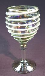 Wine glass hand blown 12oz White spiral Iridescent shine hand made in Mexico