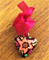 Heart Necklace hand painted wood pink ribbon