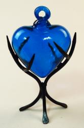 Blue Heart, Glass, Medium with Display Rack