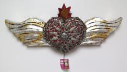 Milagro Heart with Wings and Flames 24 inches wide