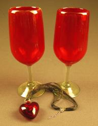 Heart and Wine glasses Mexican blown glass solid RED