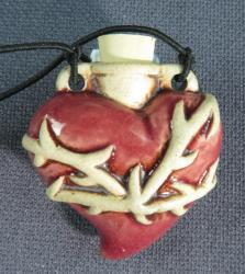 Red Heart with thorns clay vessel pendant