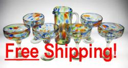 Set of Six(6) Tall, Multi Colored Confetti Swirl Margarita Glasses & Matching Pitcher Free Shipping