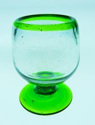 Liquor glass, green rim, 2oz snifter