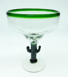 Mexican Glass Margarita green rim Saguaro cactus stem 12 oz