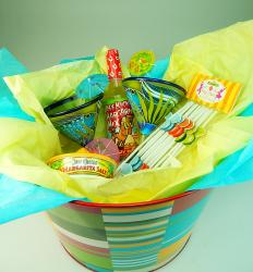 Mexican glass painted fish gift basket