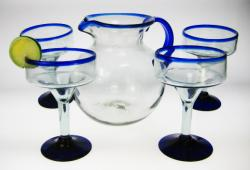 Margarita Glasses with Pitcher, Blue Rim, Set of 4