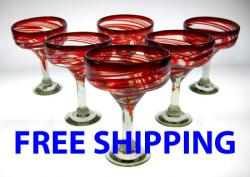 margarita glasses red swirl Mexico set of six