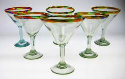 martini glass confetti rim hand blown Mexico 6