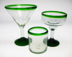 Margarita, Martini and Low Ball Green Rim Glasses