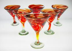 Red Swirl Martini Glasses, Set of Six