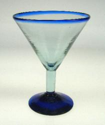 martini glass blue rim hand blown Mexico