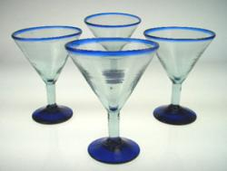 martini glass blue rim hand blown Mexico 4