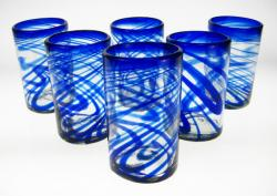 Mexican glass Blue Swirl tumblers, 16 oz, Set of 6