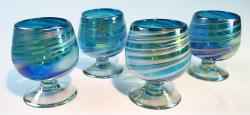 Mexican Glass Cognac Snifter 8oz Turquoise and white swirl, Four