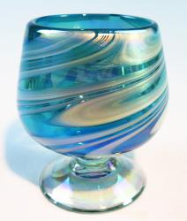 Mexican Glass Cognac Snifter 8 oz Turquoise and white swirl