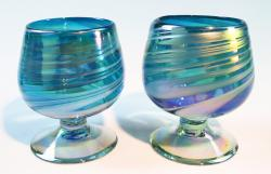 Mexican Glass Cognac Snifter 8 oz Turquoise and white swirl, two