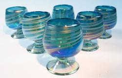 Mexican Glass Cognac Snifter 8 oz Turquoise and white swirl, Six