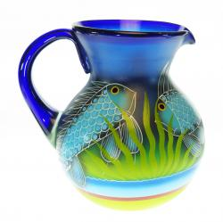 Mexican Glass Bola Pitcher 128 oz FISH Design