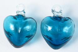 Turquoise hearts hand blown small 2 inch