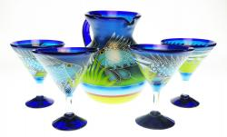 Mexican Painted FISH Pitcher & 4 martini glasses