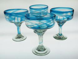 Mexican Margarita Glasses 18oz Turquoise Swirl 4