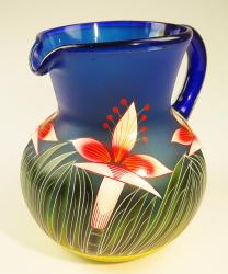 Mexican Glass Bola Pitcher 128 oz Orchid Design