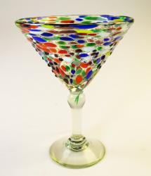 Mexican Glass pebble confetti  martini 14oz