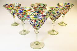Mexican Glass pebble confetti martini 14oz set of six