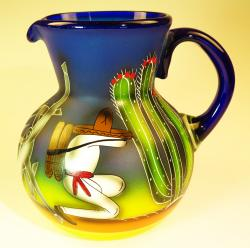 Mexican Glass Bola Pitcher 4 quarts or 128 oz  Poncho Design