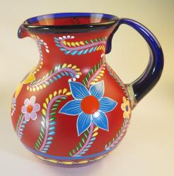 Mexican Glass Pitcher, Red, Hand Blown, Hand Painted, Flower Design 4 plus quarts or 128 oz