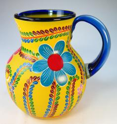 Mexican Blown Glass Pitcher, Yellow POP, Hand Painted, Flower Design 4 plus quarts or 128 oz