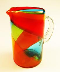 Mexican Glass Rainbow tricolor Pitcher 64oz Straight