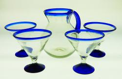 Martini Glass, Blue Rim 15oz Short Stem set of four with 80oz bola pitcher