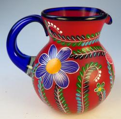 Mexican Blown Glass Pitcher, Red POP, Hand Painted, Flower Design 2  quarts or 80 oz Mexican Glass