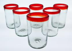Mexican Glass Red Rim Tumblers 16 oz set of 6
