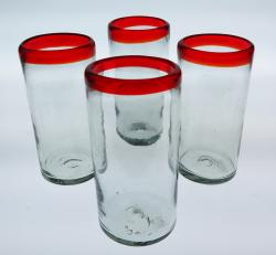 Red Rim 20oz Tumblers set of four, Mexican bubble glass