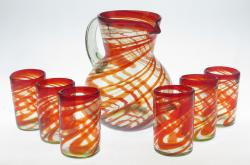 Mexican glass set Pitcher and six16oz Red Swirl glasses